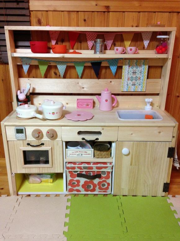 キッチン 手作りままごとキッチンカラーボックス : このキッチンを作る時子どもに ...